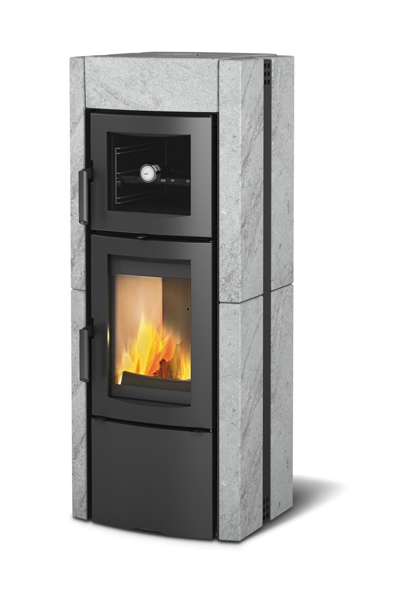 Stufa a legna con forno la nordica extraflame ester pietra for Stufe combinate legna pellet nordica