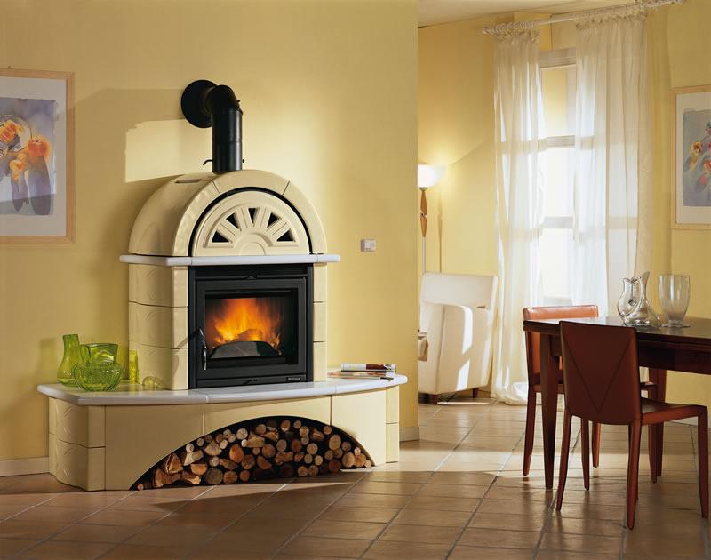 Stufa a legna con forno nordica extraflame falo 39 1c giallo panca sabbia pramar casa - Stufe a pellet e legna combinate ...