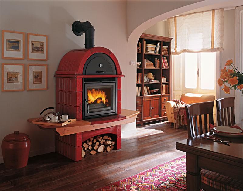 Stufa a legna con forno nordica extraflame falo 39 2l bordeaux pramar casa - Listino prezzi stufe a pellet nordica ...