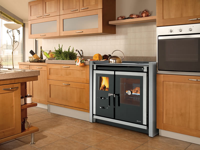 Cucina a legna con forno Nordica Extraflame Italy Built-In inox ...