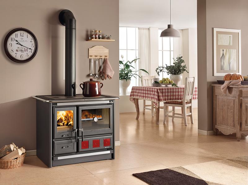 Cucina a legna con forno nordica extraflame rosa xxl nero - Cucina a legna con forno ...