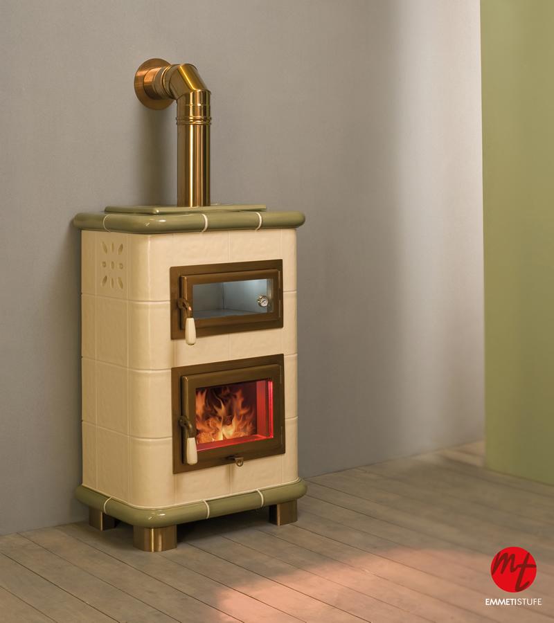 Stufa a legna con forno emmeti saturno crema puntinato verde puntinato pramar casa - Cucinare con il forno a legna ...